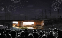 LA RIver outdoor movie theater